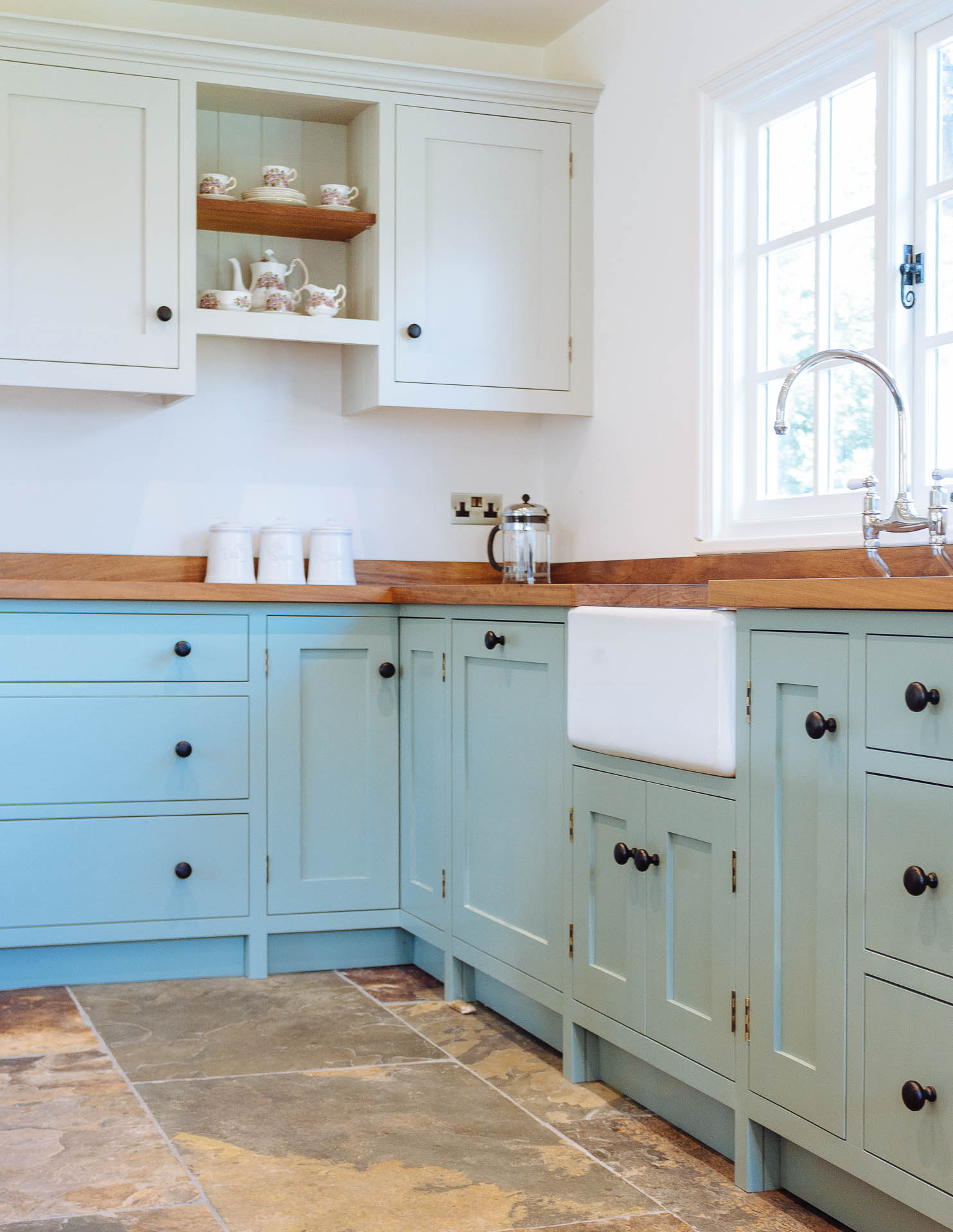 Foxes Hill Kitchen with Belfast sink, Perrin & Rowe 'Astbury' chrome taps, Iroko work surface, finished with Danish oil